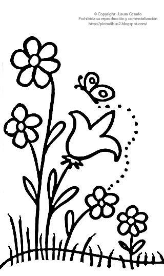 Dibujo de flores silvestres para colorear